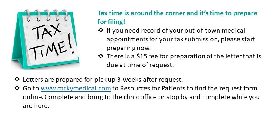 REQUEST for VISIT RECORD OF OUT-OF-TOWN MEDICAL APPOINTMENTS for tax purposes